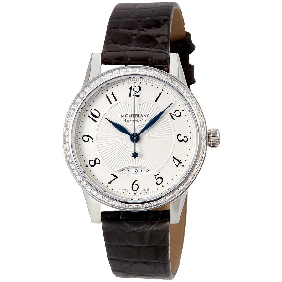 Montblanc boheme date silvery white guilloche dial automatic ladies watch 111057 boheme for Montblanc watches