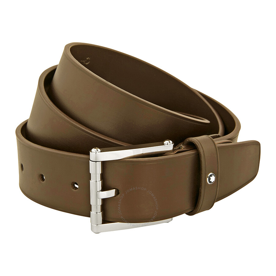 montblanc brown leather belt with palladium coated square