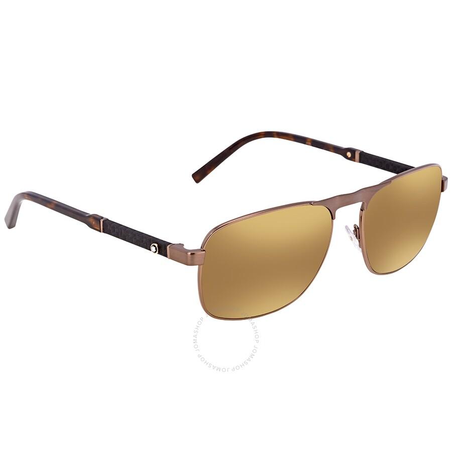427c552aec0 Montblanc Brown Mirror Rectangular Sunglasses MB655S 34G 59 ...