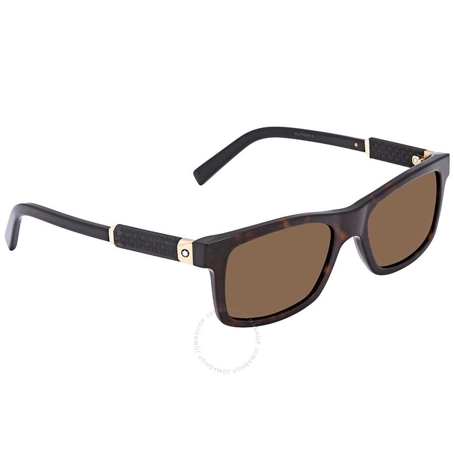 Mont Blanc Sunglasses MB646S 52J Dark Havana Brown