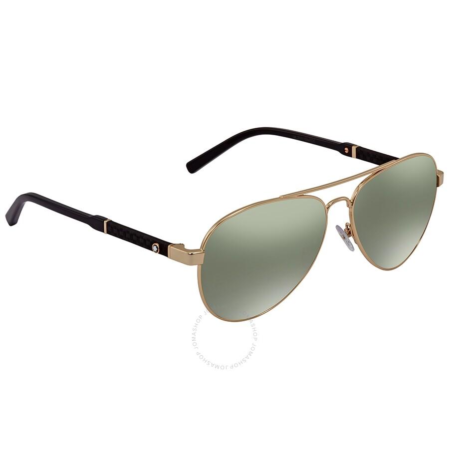 6b5240112f Montblanc Green Mirror Aviator Sunglasses MB645S 32Q 59 - Montblanc ...