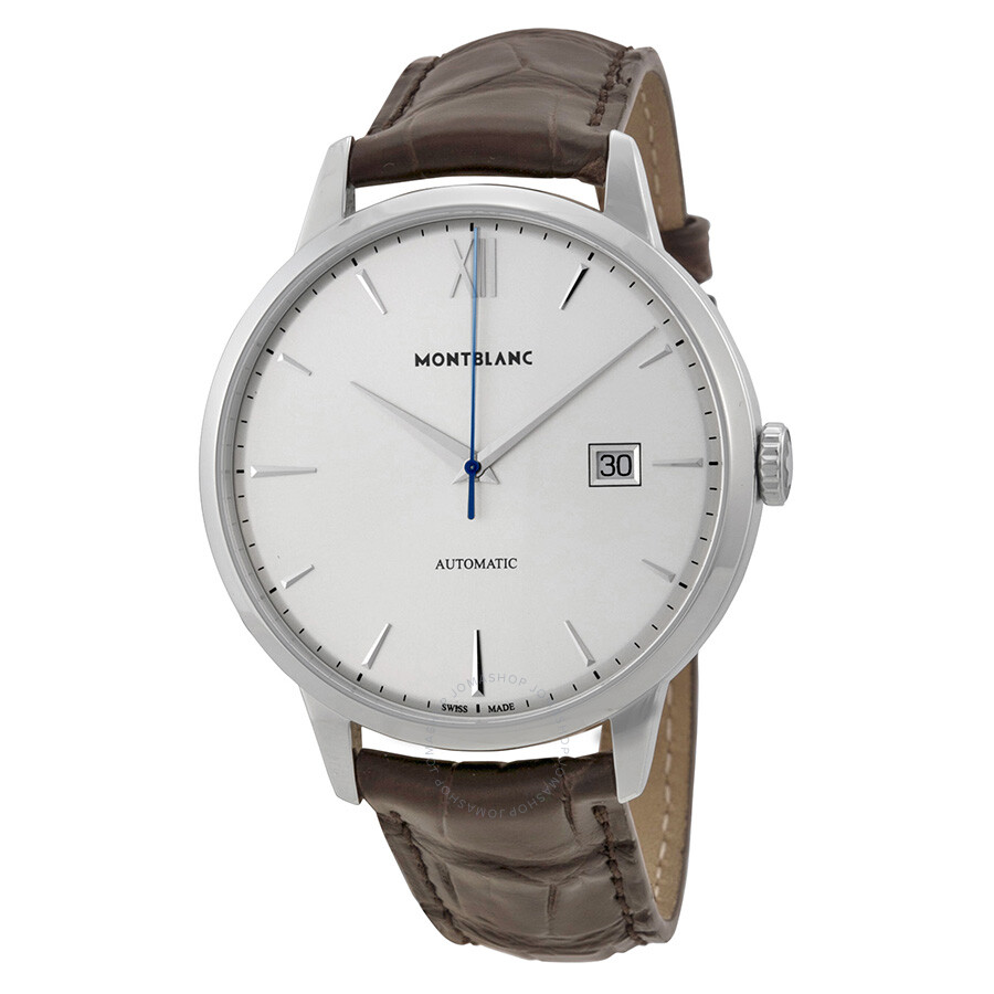 Montblanc meisterstuck heritage automatic silver dial brown leather men 39 s watch 111580 for Montblanc watches