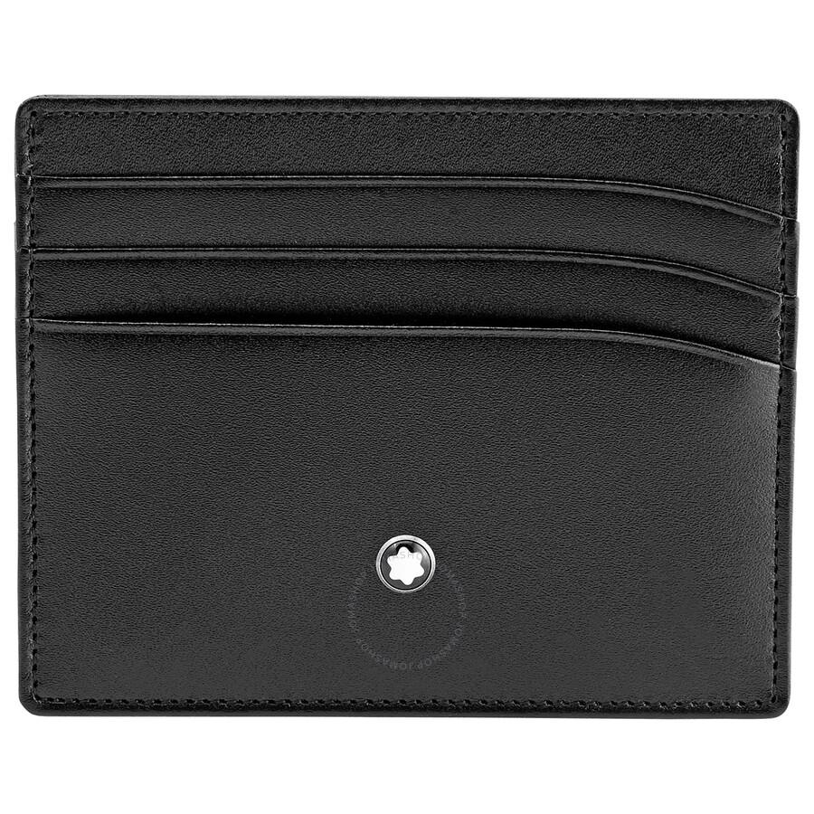 a42e84f371 ... Montblanc Meisterstuck Selection Black Leather Pocket Credit Card Holder  106653 ...