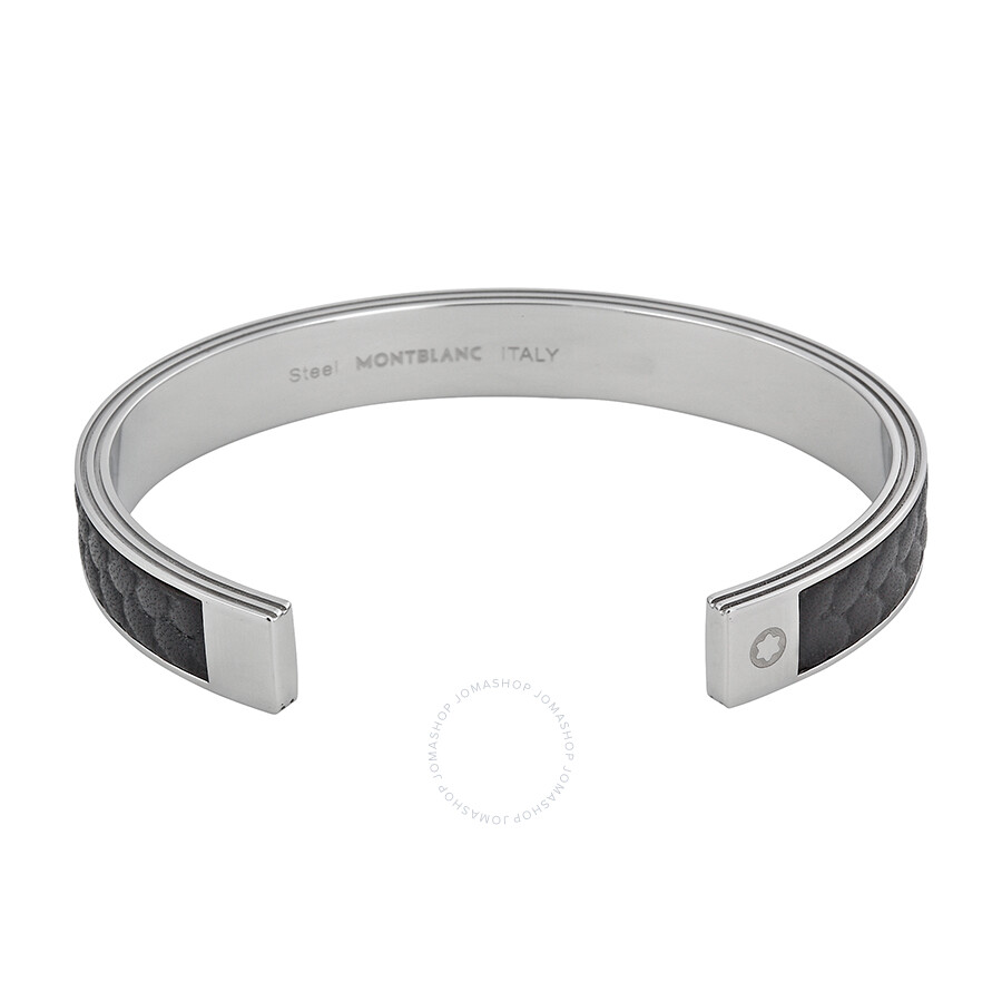 mont blanc mens bracelet montblanc monograin steel and leather bangle bracelet 8627