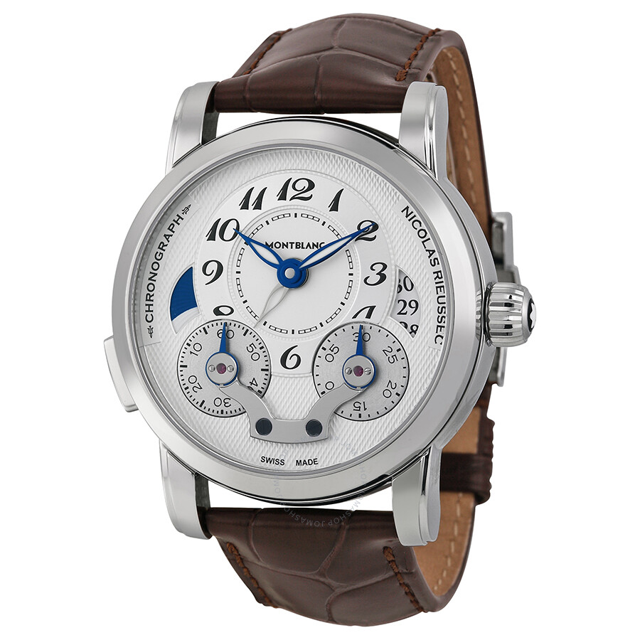 763ccd4bc166d Montblanc Nicolas Rieussec Chronograph Automatic Silver Dial Brown Leather  Men s Watch 106487 ...