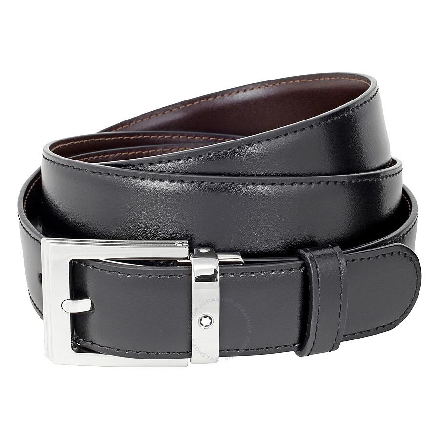 montblanc reversible leather belt black brown