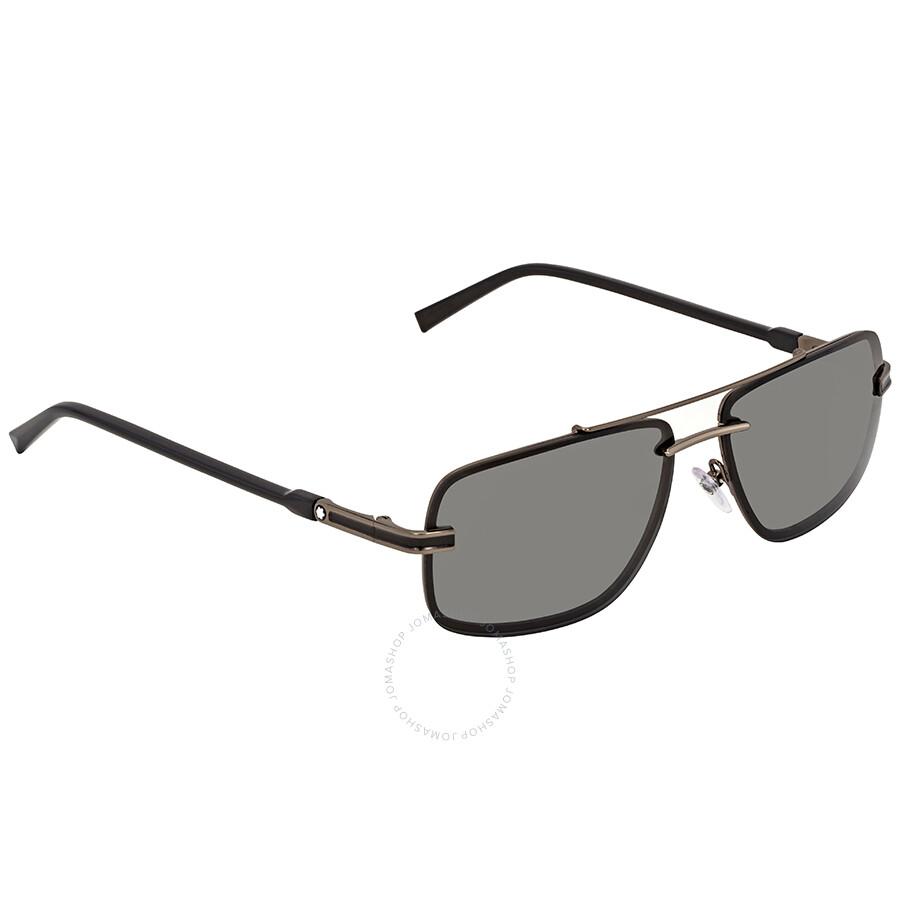 b9537f3f508 Montblanc Smoke Rectangular Sunglasses MB658S 08A 59 - Montblanc ...