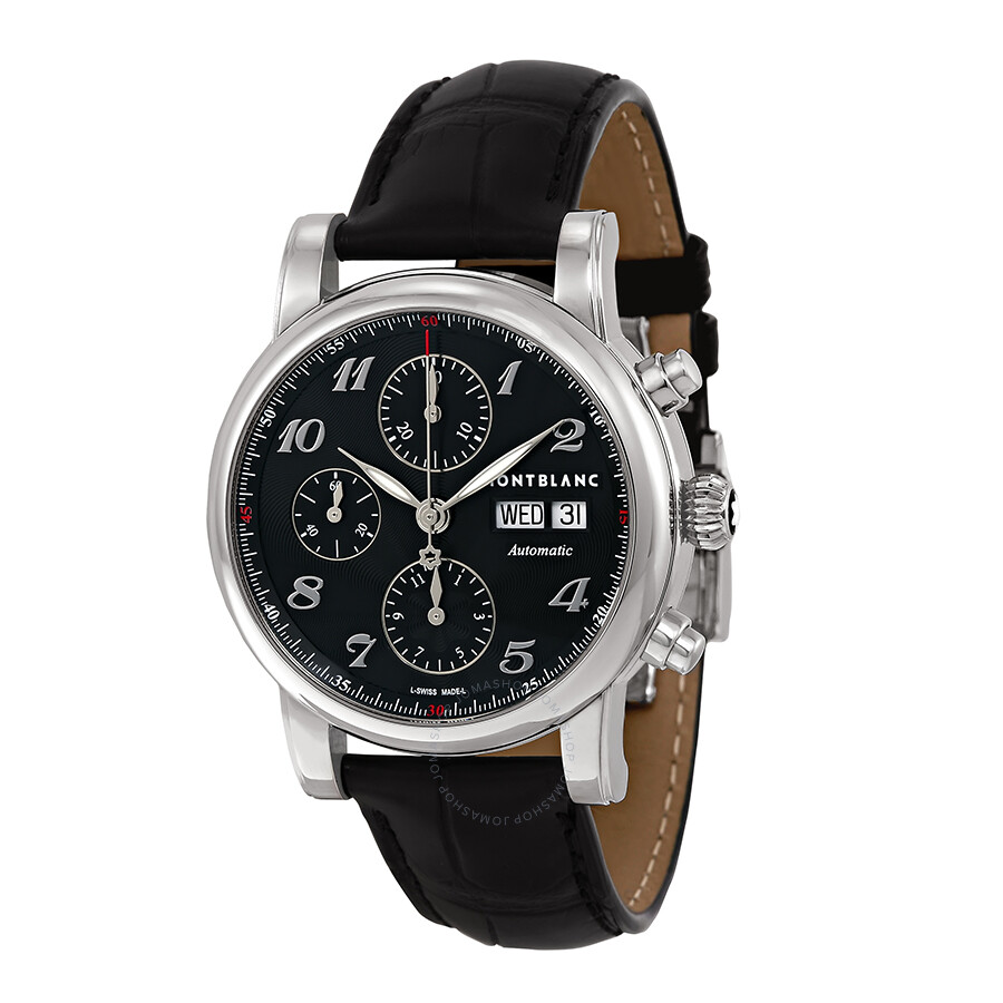 Montblanc star automatic chronograph black guilloche dial for Montblanc house