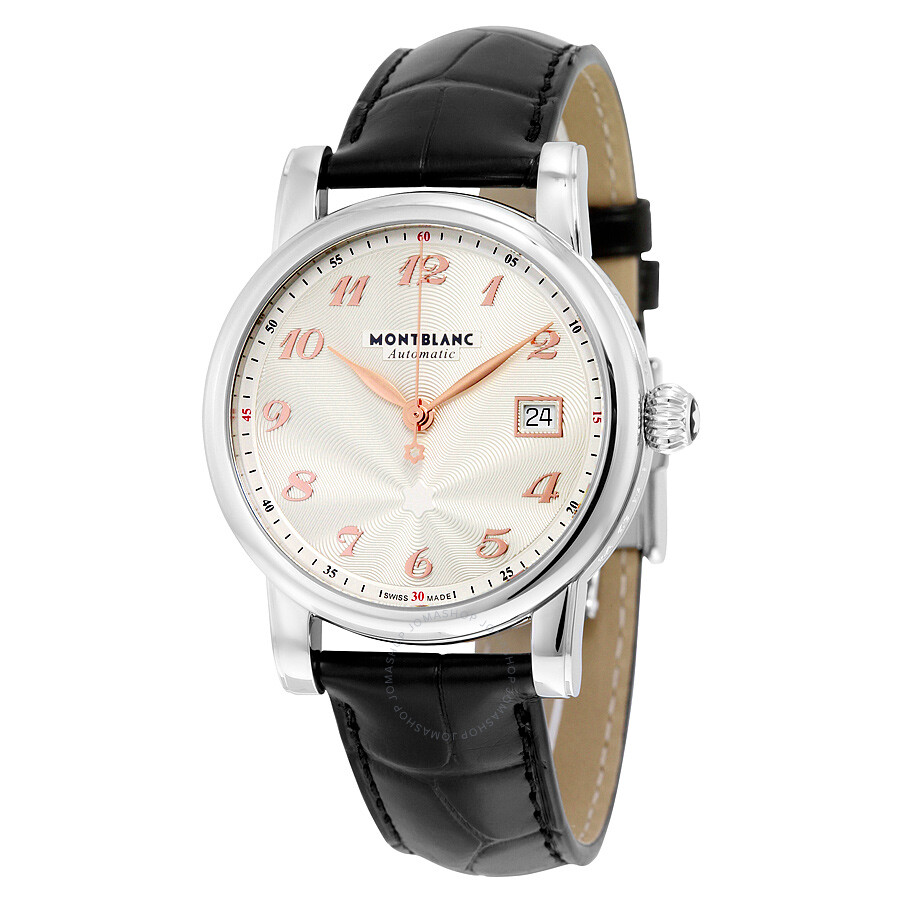 Montblanc star automatic silver guilloche dial unisex watch 113849 star montblanc watches for Montblanc watches
