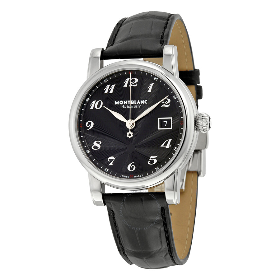 Montblanc star black dial alligator leather automatic men 39 s watch 107314 star montblanc for Montblanc watches