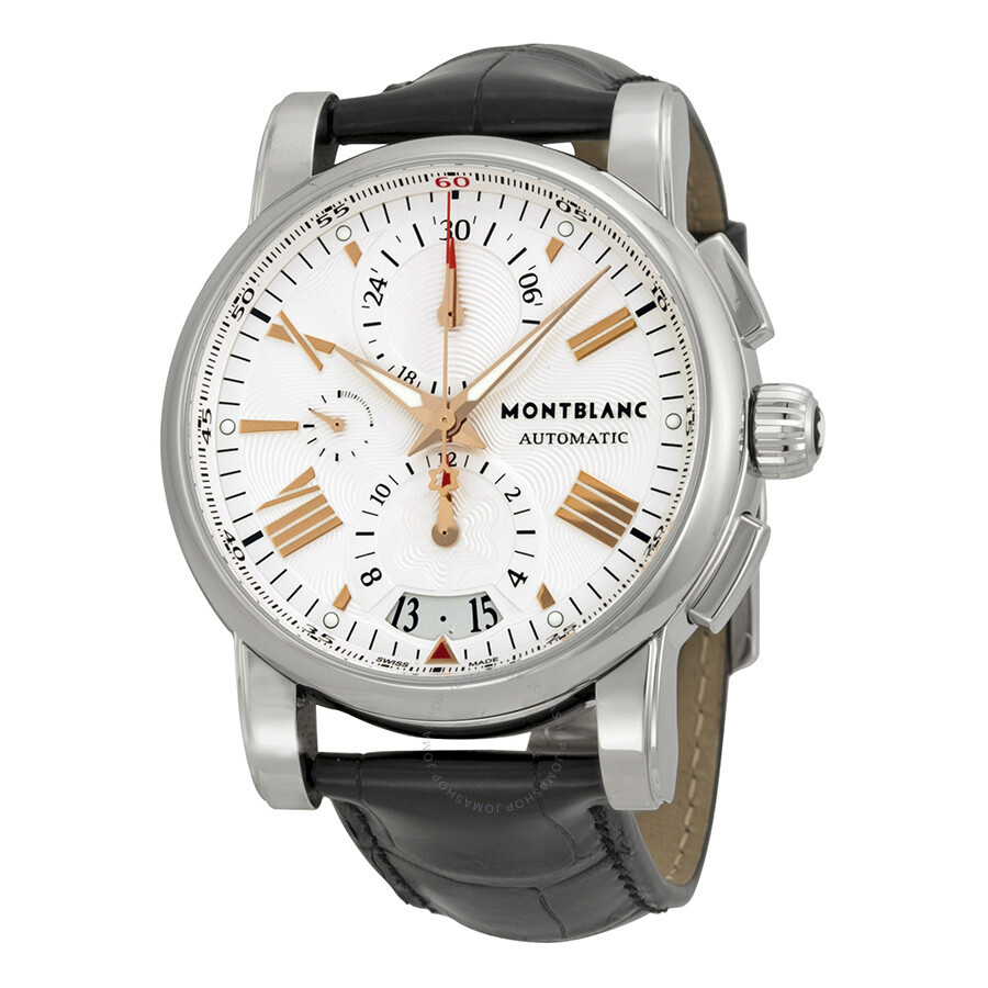 Montblanc star silver dial chronograph black leather for Montblanc house