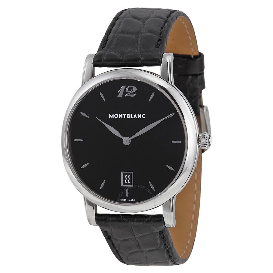 montblanc classique black black leather s