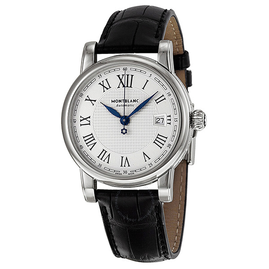 ca97b2d4035 Montblanc Star Date Automatic Silver Dial Black Leather Men's Watch 107114  ...