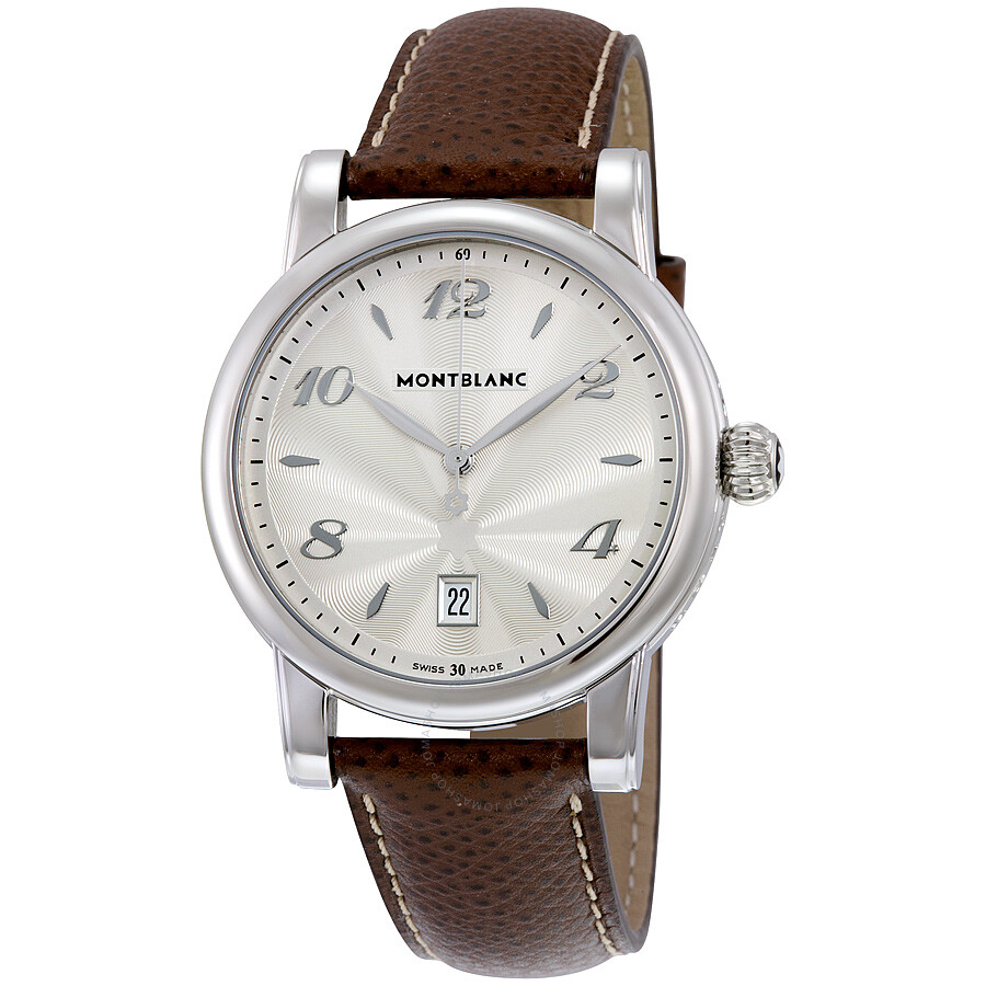 454efa4558a Montblanc Star Date Silver Dial Brown Leather Men's Watch 108762 ...