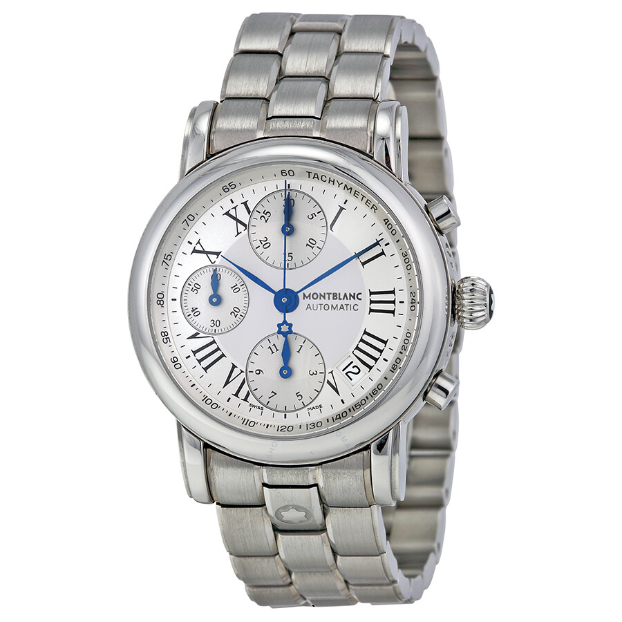 Montblanc Star Silver Dial Steel Automatic Chronograph Men