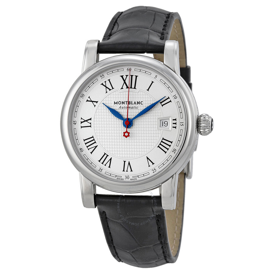 Montblanc star white silver dial black leather men 39 s watch 110705 star montblanc watches for Montblanc watches