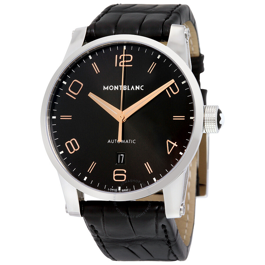 4b81d7f20380a Montblanc Timewalker Automatic Black Dial Black Leather Men s Watch 110337  ...