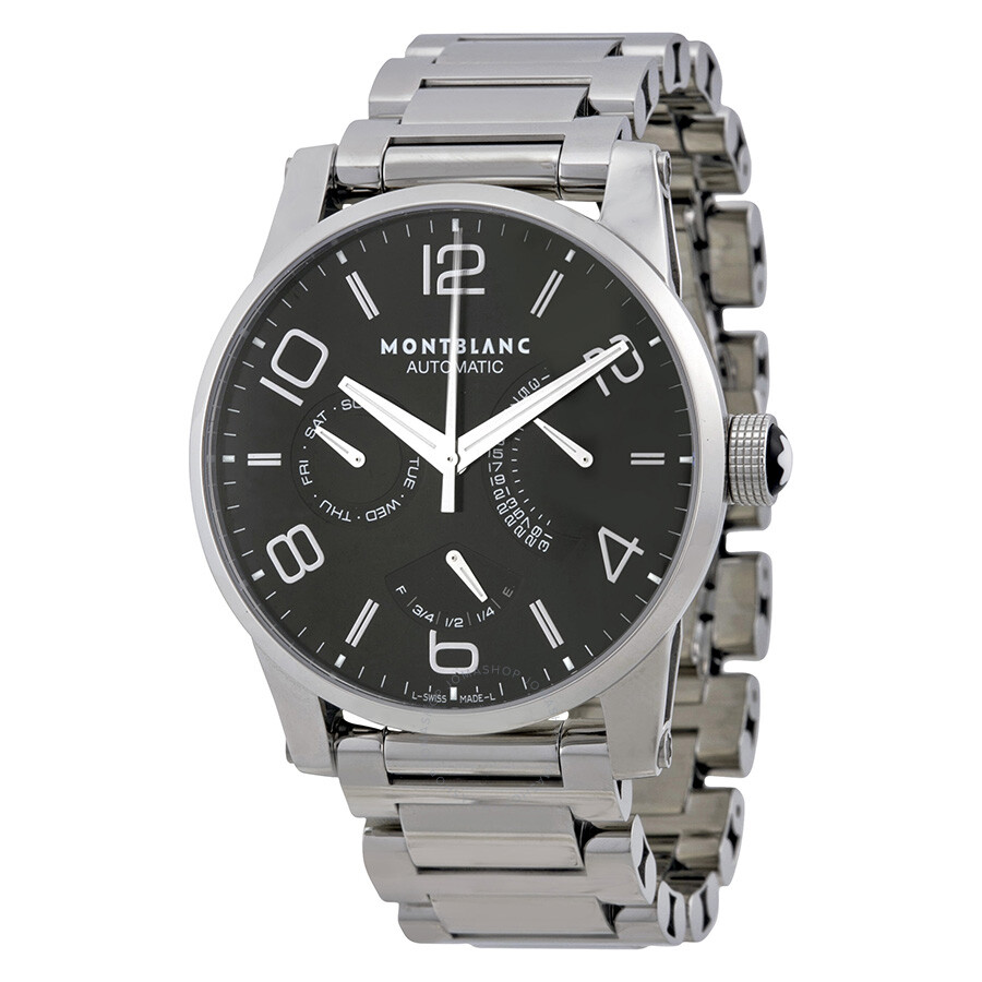 Montblanc timewalker automatic black dial stainless steel men 39 s watch 103095 timewalker for Montblanc watches
