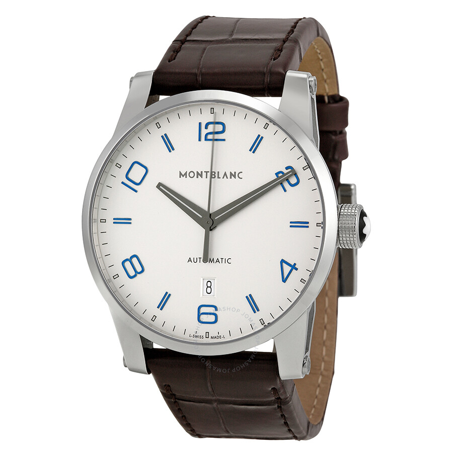 Montblanc timewalker automatic silver dial brown leather mnes watch 110338 timewalker for Montblanc watches
