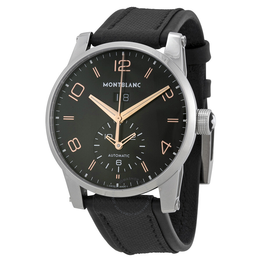 Montblanc timewalker black dial black leather automatic watch 110465 timewalker montblanc for Montblanc watches