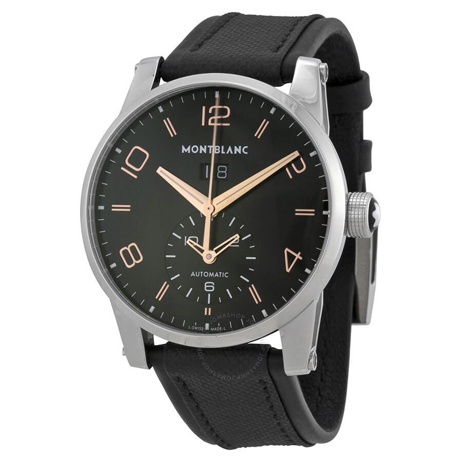 e2ef88d0e Montblanc Timewalker Black Dial Black Leather Automatic Watch 110465 ...