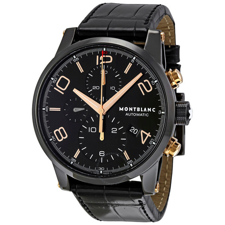 Montblanc timewalker black steel chronograph men 39 s watch 105805 timewalker montblanc for Montblanc watches