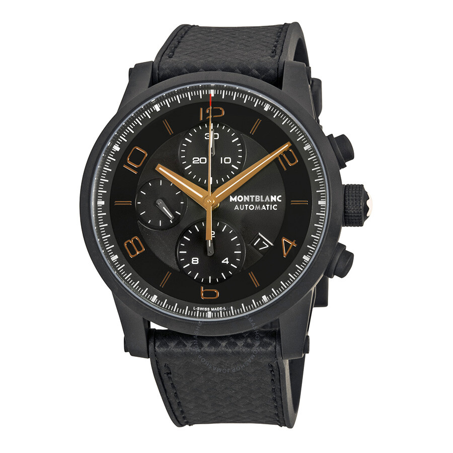 Montblanc timewalker chronograph black and grey dial black leather men 39 s watch 111684 for Montblanc watches