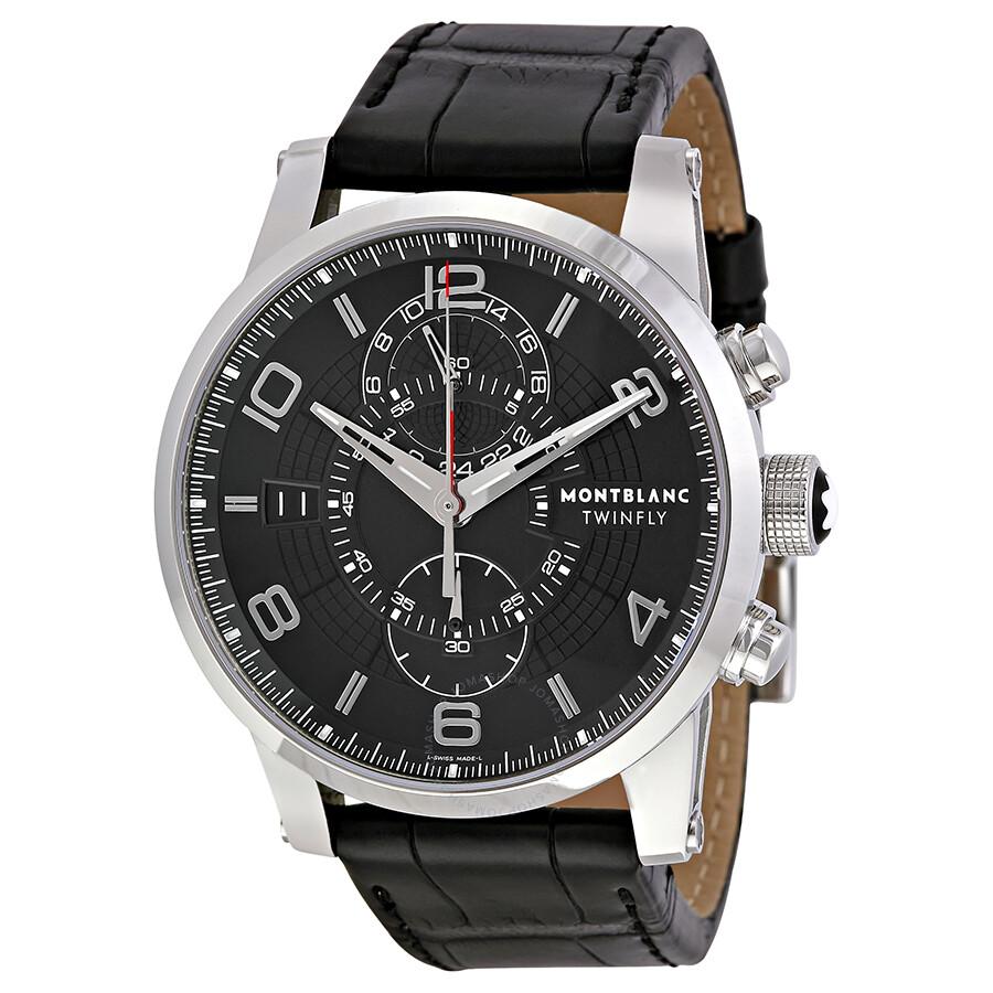 Montblanc timewalker chronograph black dial men 39 s watch 105077 timewalker montblanc for Montblanc watches