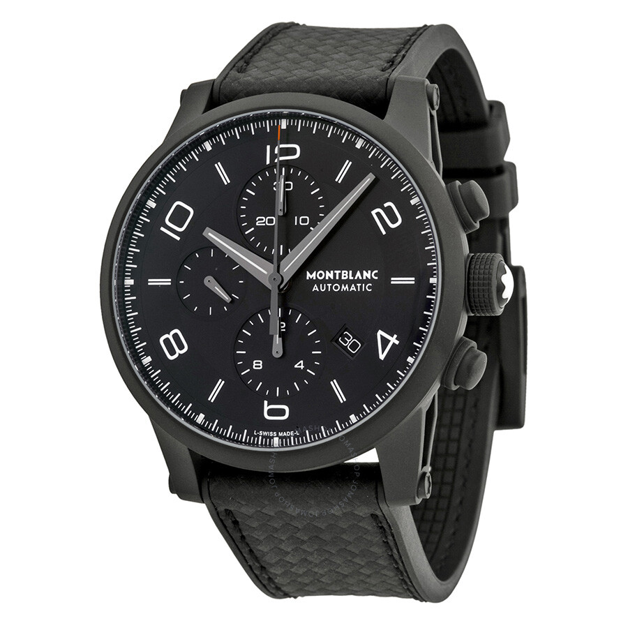 montblanc timewalker extreme chronograph black dial black leather men 39 s watch 111197