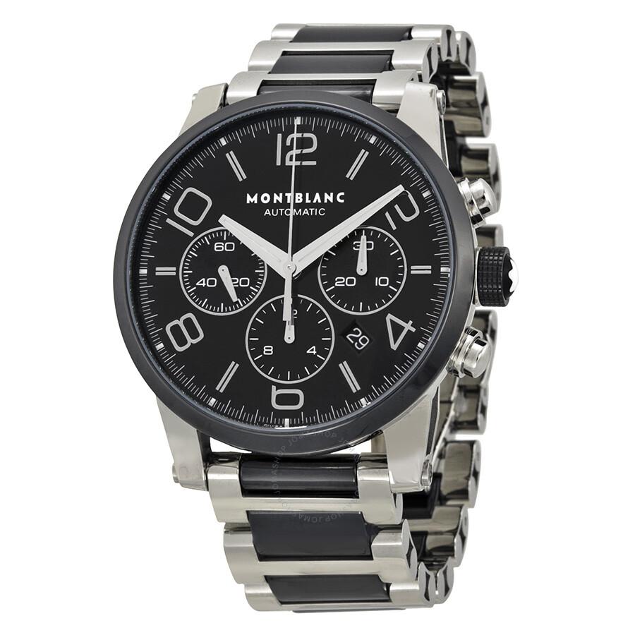 montblanc timewalker steel and black ceramic chronograph
