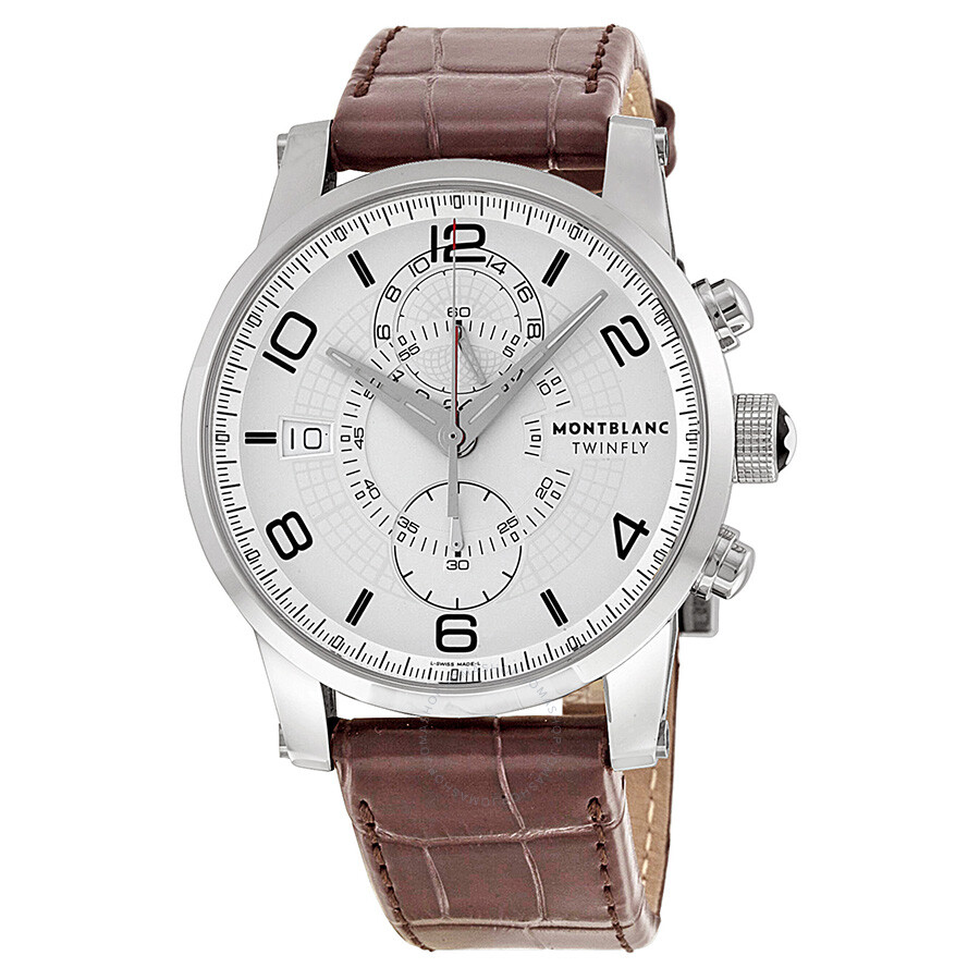 3226658a7cabc Montblanc Timewalker Twinfly Chronograph White Dial Brown Leather Men s  Watch 109134 ...