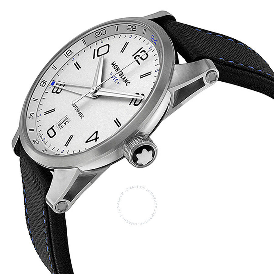 fb16fdcf684 ... Montblanc Timewalker Voyager UTC Silver Dial Black Leather Men s Watch  109333 ...