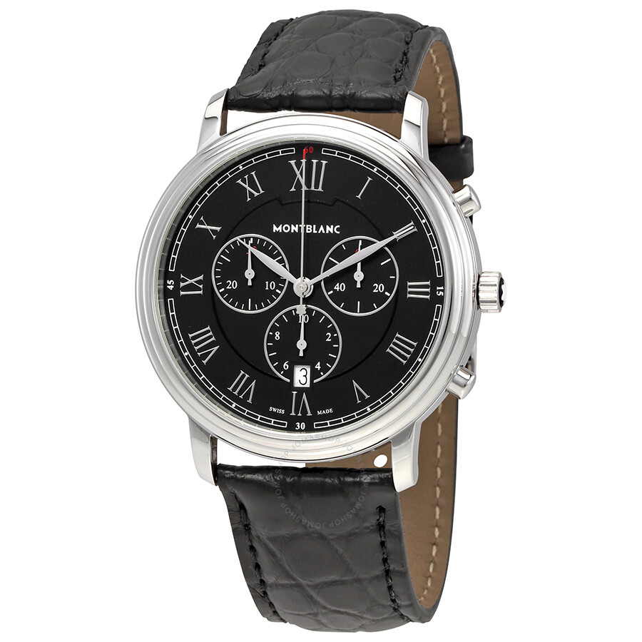 Montblanc tradition chronograph black dial men 39 s watch 117047 tradition montblanc watches for Montblanc watches