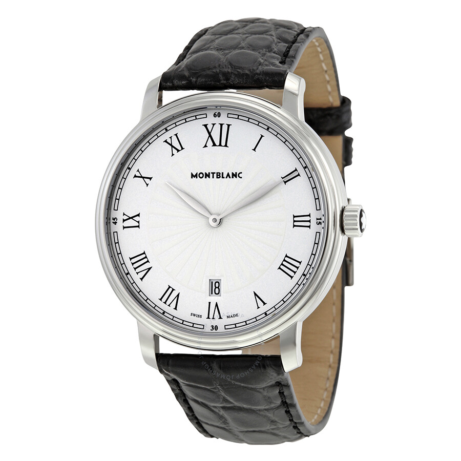 5201dcc0c Montblanc Tradition Date White Guilloche Dial Black Leather Men's Watch  112633 ...