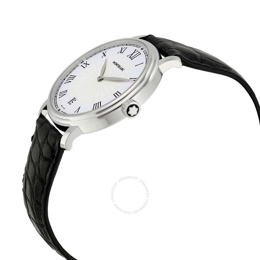 58751a612 ... Montblanc Tradition Date White Guilloche Dial Men's Watch 112635 ...