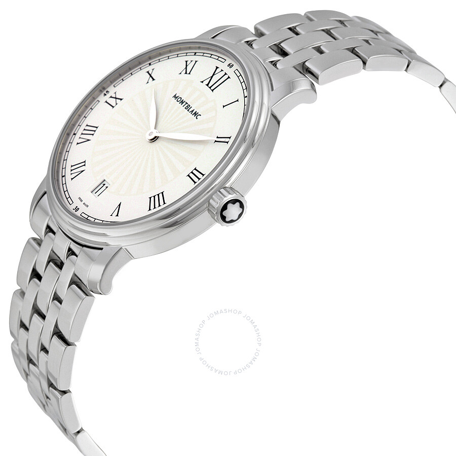 a45c7c18d ... Montblanc Tradition Date White Guilloche Dial Stainless Steel Men's  Watch 112636 ...