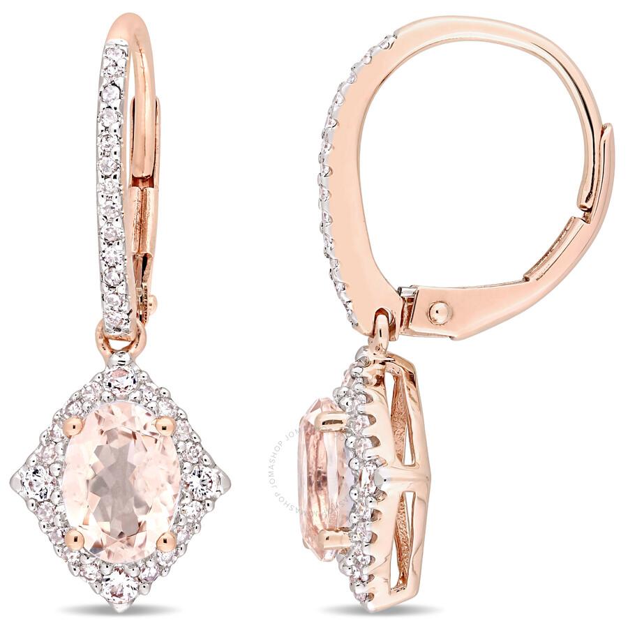cda6dae08f7c6 Morganite, White Sapphire & Diamond Vintage Leverback Drop Earrings in 10k  Rose Gold JMS004484