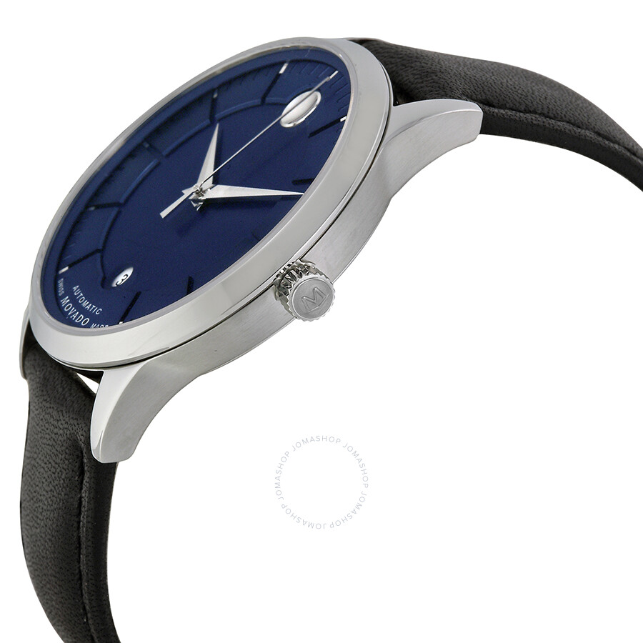 movado 1881 automatic blue black leather band s