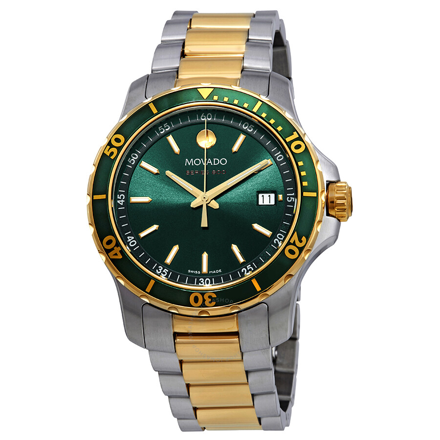 800 Green Dial Two Tone Men's Watch by Movado