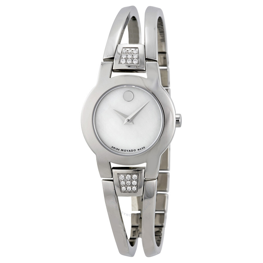 dc3ac44364c Movado Amorosa Diamond Mother of Pearl Dial Stainless Steel Ladies Watch  0606617 Item No. 0606617