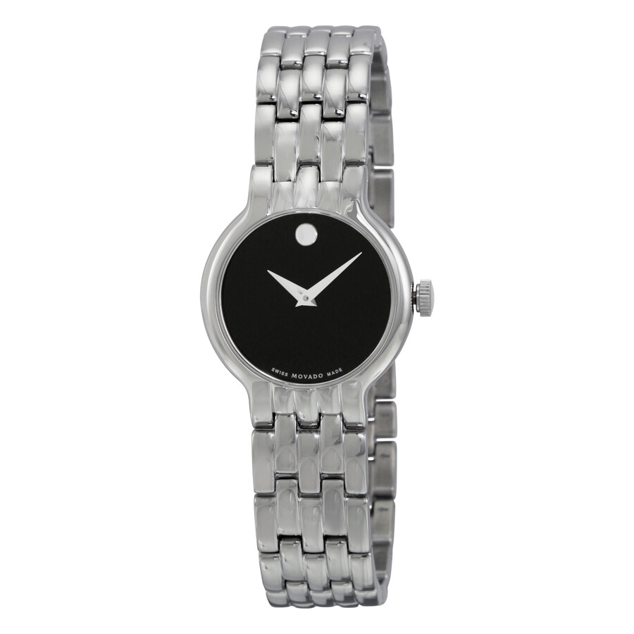 Black Dial Stainless Steel Ladies Watch by Movado