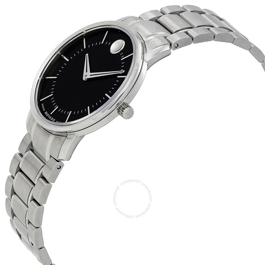 Black Stainless Steel: Movado Black Dial Stainless Steel Ladies Watch 0606690