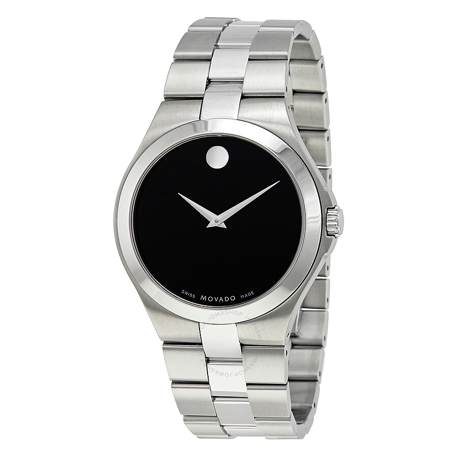 Movado black dial stainless steel men 39 s watch 0606555 serio movado watches jomashop for Stainless steel watch