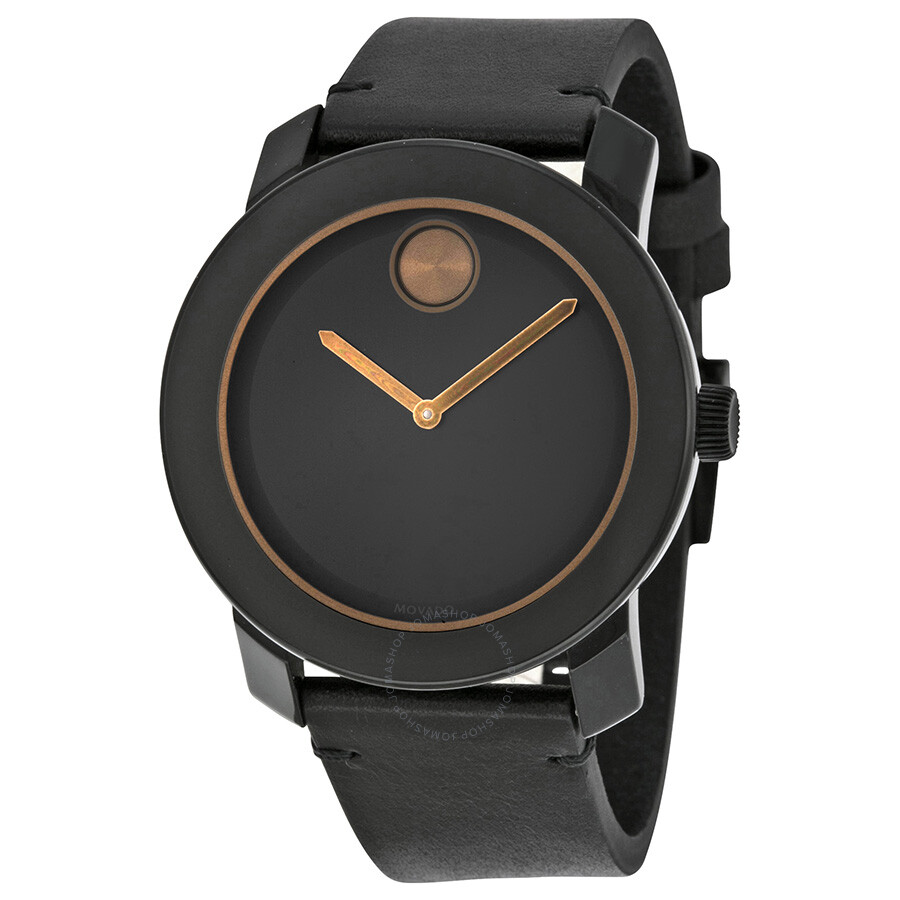 movado bold black black leather band black stainless