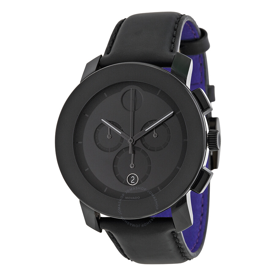 movado bold black chronograph leather s