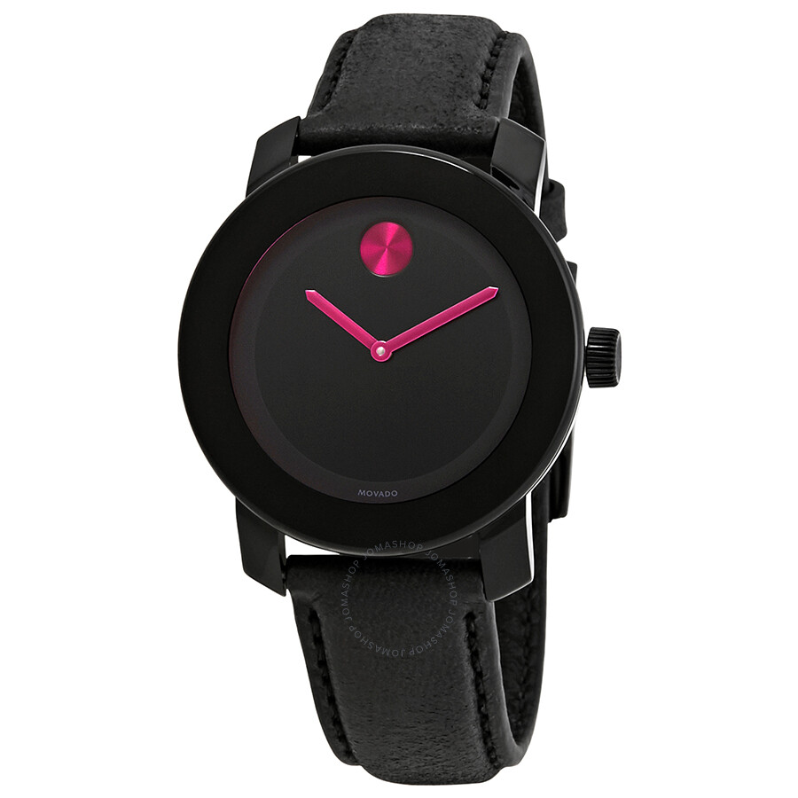 Bold Black Dial Pink Accents Ladies Watch by Movado