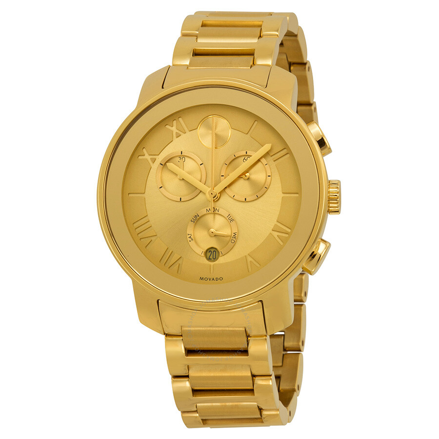 movado bold chagne gold ion plated