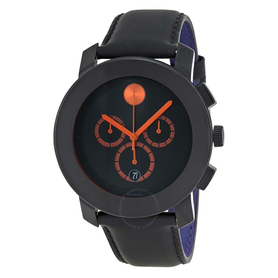 movado bold chronograph black black leather s