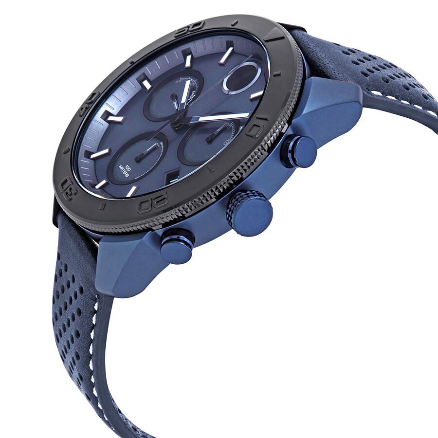 dd0eb7b2e ... Movado Bold Chronograph Blue Dial Blue Leather Men s Watch 3600516 ...