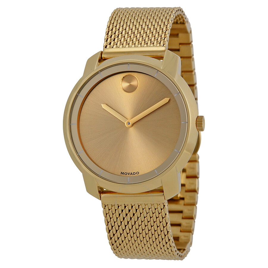 movado bold gold gold ion plated mesh 3600242